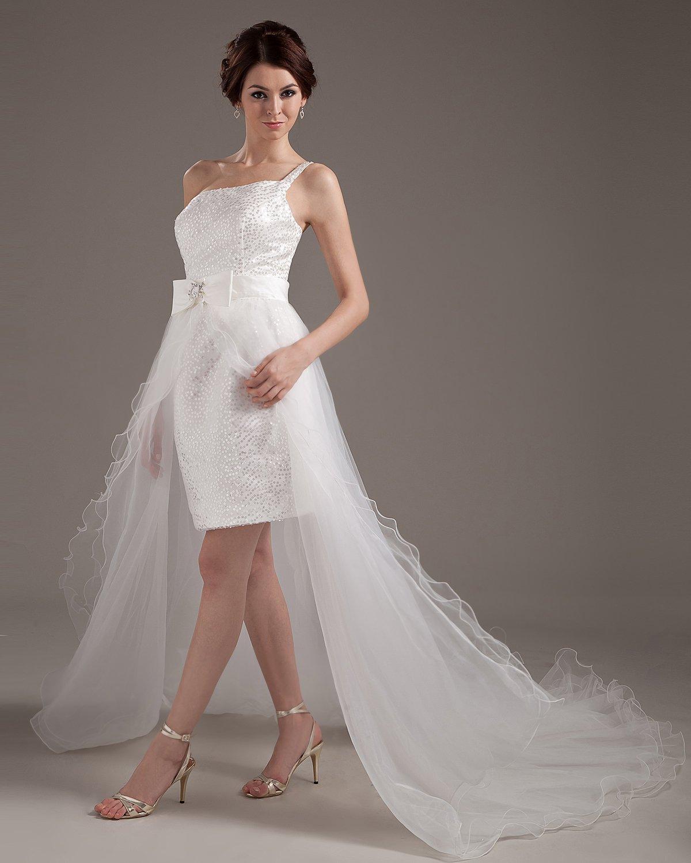 Yarn One Shoulder Ruffle Asymmetric Short Bridal Gown Wedding Dresses