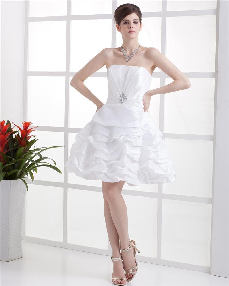 Strapless Rhinestone Sleeveless Lace Up Mini Length Taffeta Woman Wedding Dresses