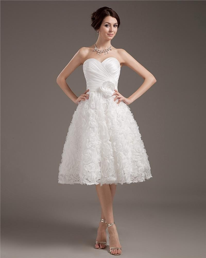 Elegant Short Mini Satin Lace Sweetheart Wedding Dress