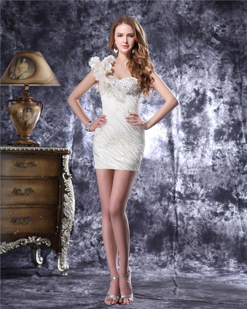 One Shoulder Short Ruffles Beading Pleated Satin Mini Wedding Dress