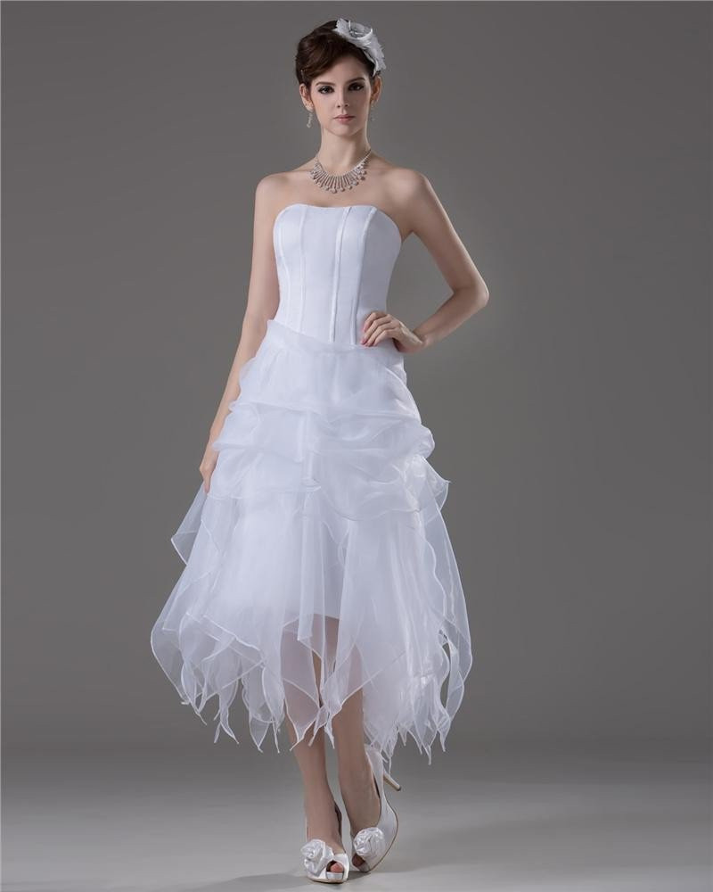 A Line Strapless Ankle Length Satin Short Wedding Dress