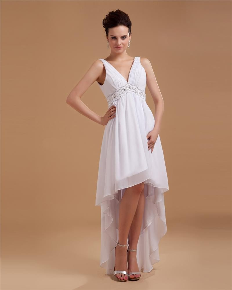 Sash Applique V Neck Short Mini Bridal Gown Wedding Dress/Graduation Dresses