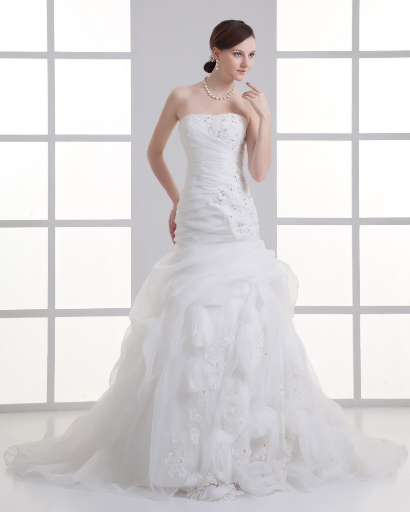 Organza Flower Ruffle Beading Strapless Court Train Mermaid Wedding Dress