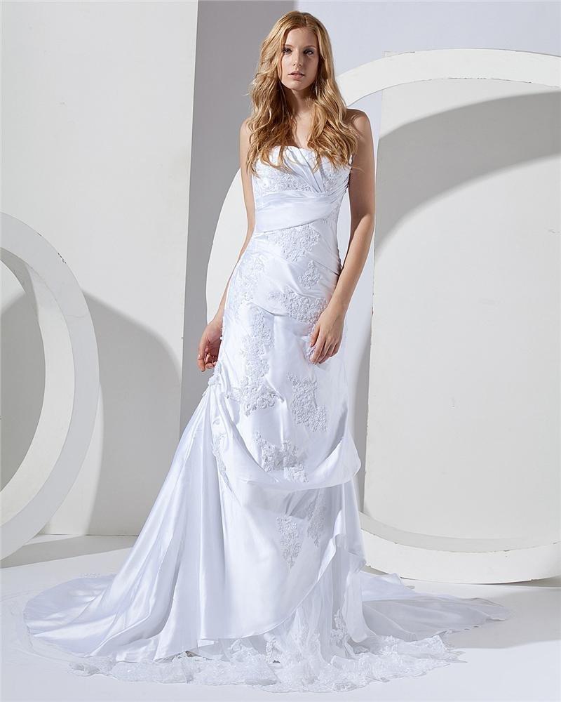 Flower Emboidered Sweetheart Court Mermaid Bridal Gown Wedding Dress