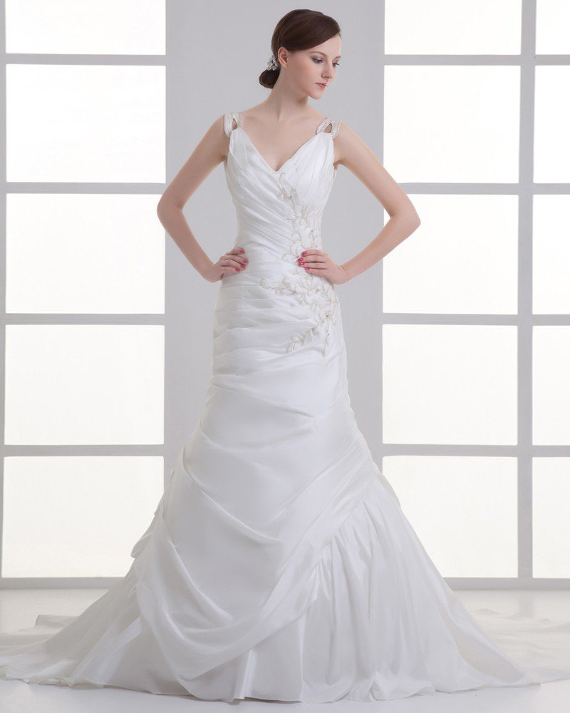 Taffeta Applique Beading V Neck Court Train Mermaid Wedding Dress
