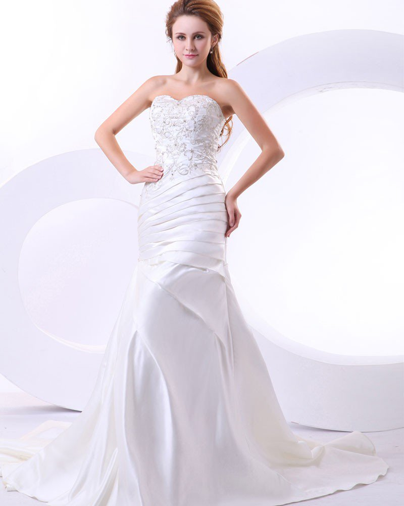 Beading Satin Ruffles Sweetheart Cathedral Train Mermaid Wedding Dresses