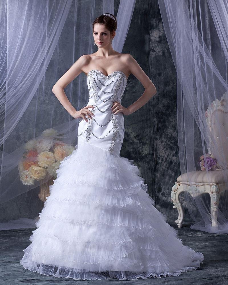 Satin Yarn Beading Ruffle Sweetheart Cathedral Train Mermaid Wedding Dresses
