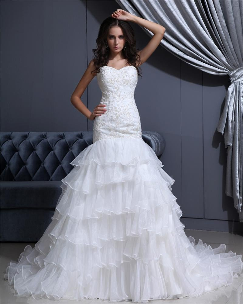 Sweetheart Lace Up Floor Length Sleeveless Cathedral Train Applique Ruffle Layered Organza Woman Mer