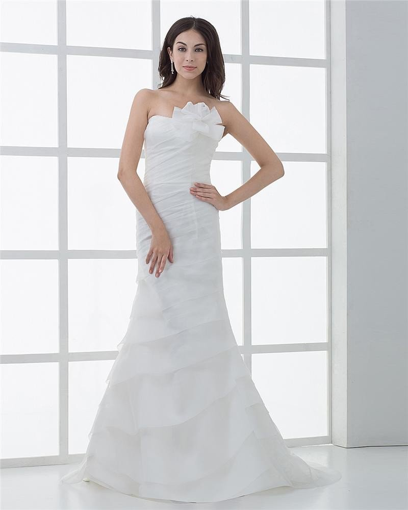 Satin Pleat Flowers Cathedral Train Mermaid Wedding Dresses