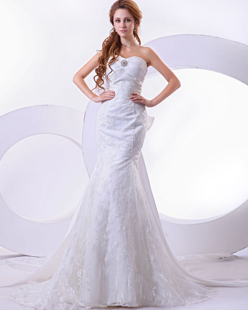 Satin Lace Pleat Beading Sweetheart Mermaid Chapel Train Wedding Dress