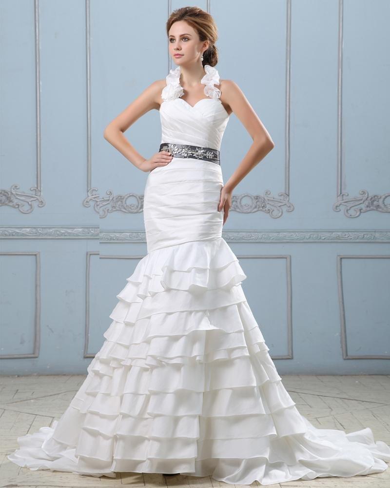Ruffle Sweetheart Neck Beading Belt Taffeta Mermaid Wedding Dress