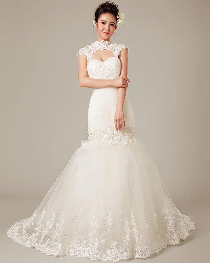 Graceful Applique Beading High Neck Tulle Mermaid Wedding Dress