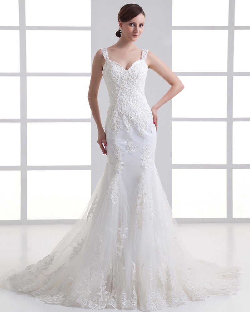 Tulle Ruffle Beading Shoulder Straps Court Train Mermaid Wedding Dress