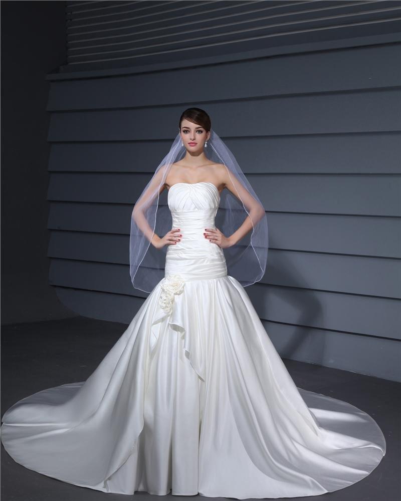 Strapless Pleated Floor Length Charmeuse Woman Mermaid Wedding Dress