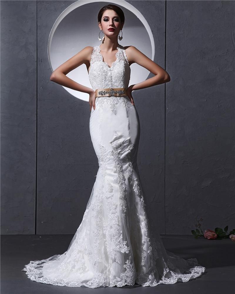 Halter Sleeveless Button Sash Applique Floor Length Lace charmeuse Woman Mermaid Wedding Dress