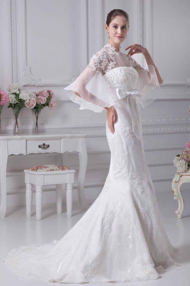 Organza Beading Lace Cathedral Train Mermaid Wedding Dresses