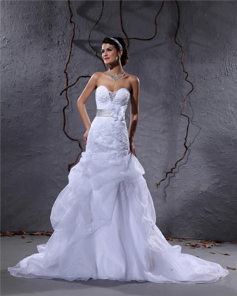 Elegant Satin Yarn Flower Beaded Sweetheart Floor Length Mermaid Wedding Dress