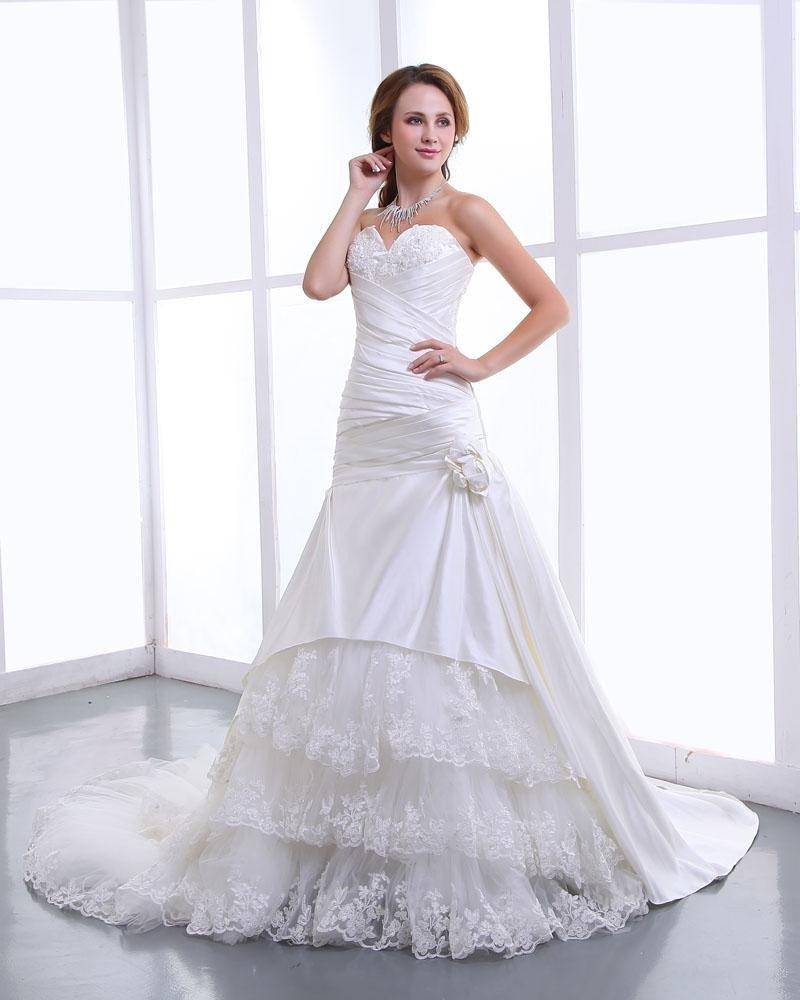 Ruffles Yarn Satin Lace Applique Flowers Sweetheart Cathedral Train Mermaid Wedding Dress