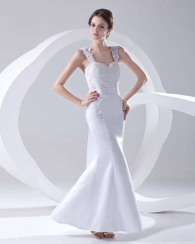 Shoulder Straps Sleeveless Single Breasted Applique Belt Bowknot Floor Length Lace Satin Woman Merma
