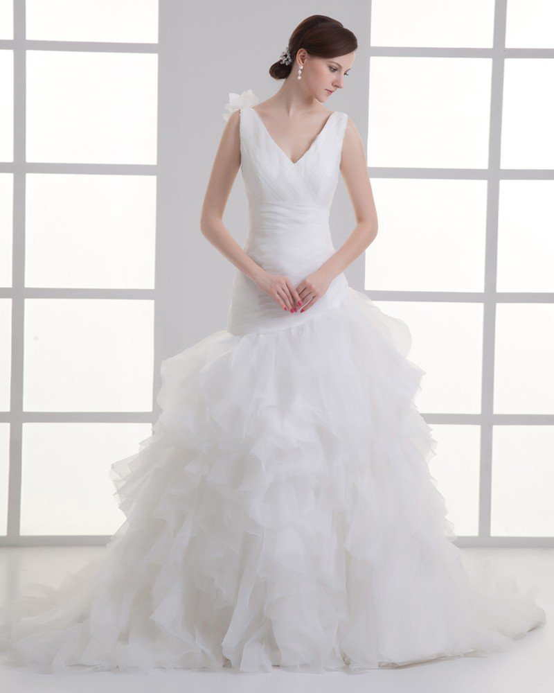 Organza Flower V Neck Court Train Tiered Wedding Dress