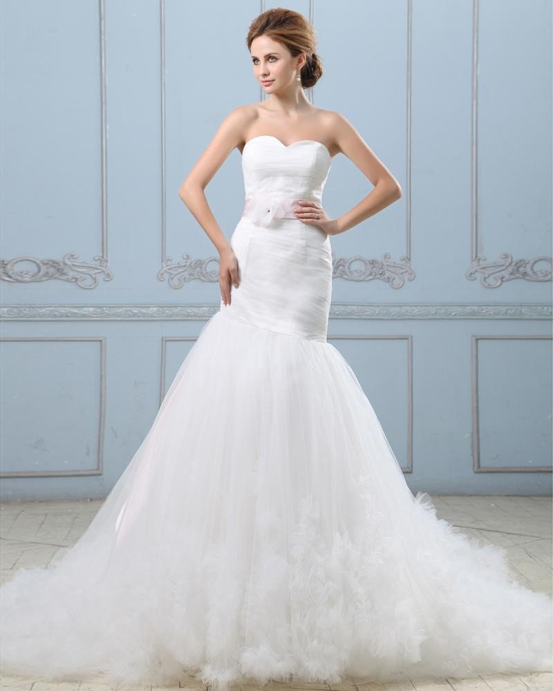 Ruffle Handmade Flower Belt Sweetheart Satin Tulle Mermaid Wedding Dress