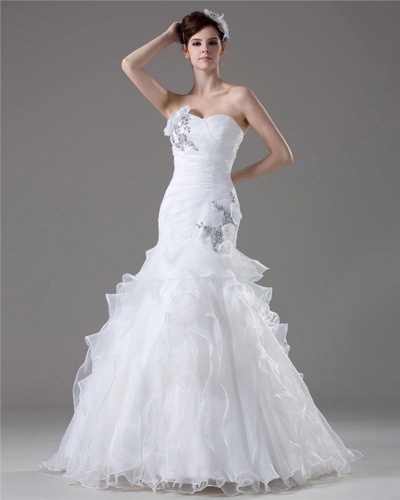 Elegant Beading Ruffles Applique Sweetheart Floor Length Yarn Mermaid Wedding Dress