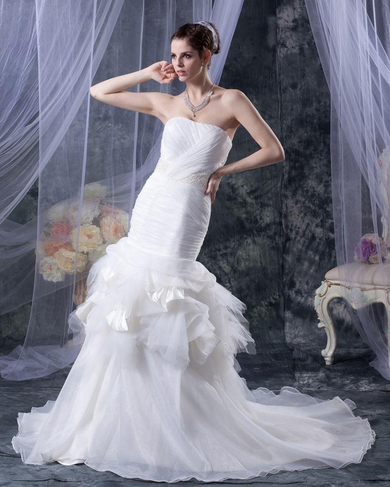 Beading Ruffles Yarn Satin Sweetheart Cathedral Train Mermaid Wedding Dresses