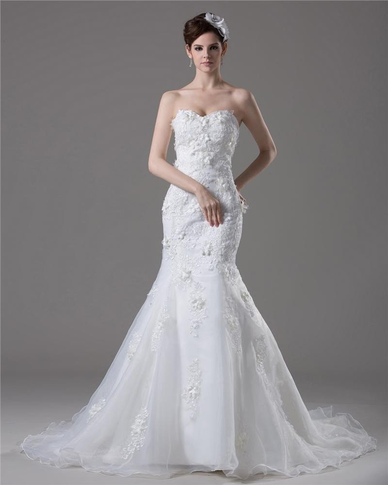 Elegant Beading Applique Sweetheart Floor Length Court Train Yarn Mermaid Wedding Dress