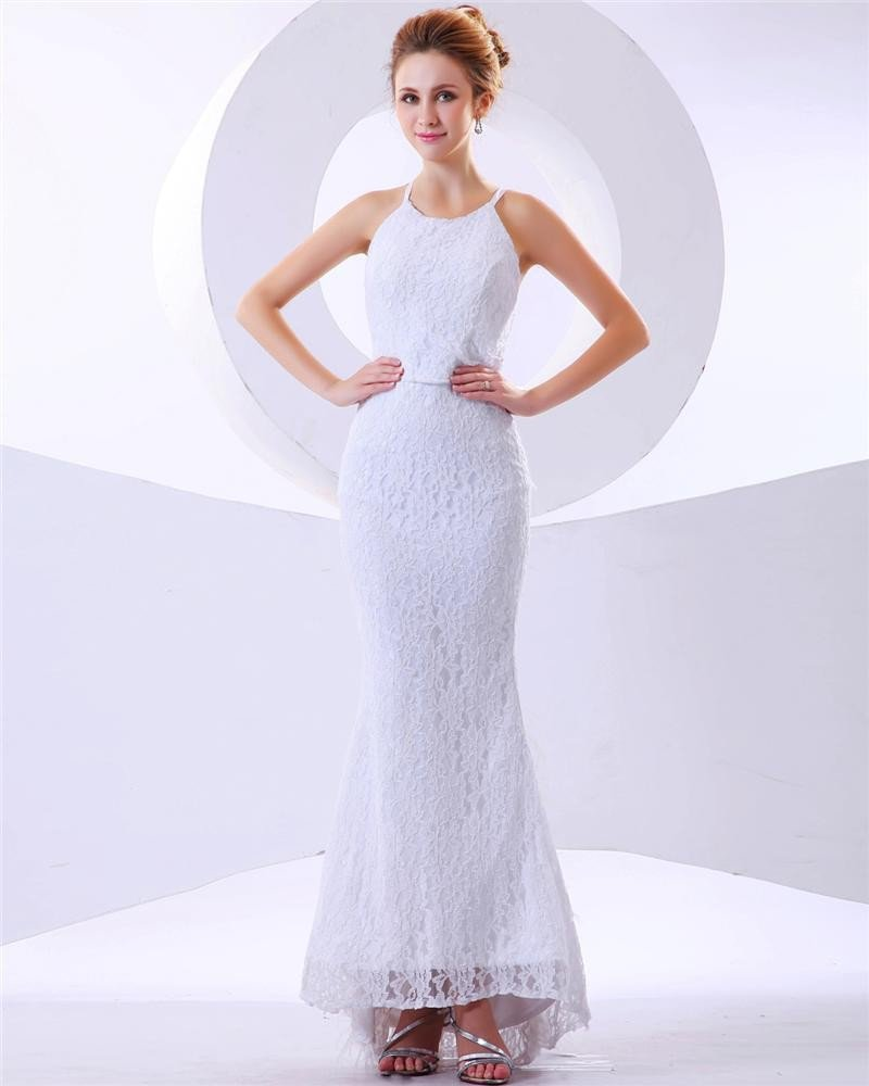 Feather Lace Halter Feather Brush Train Mermaid Wedding Dresses