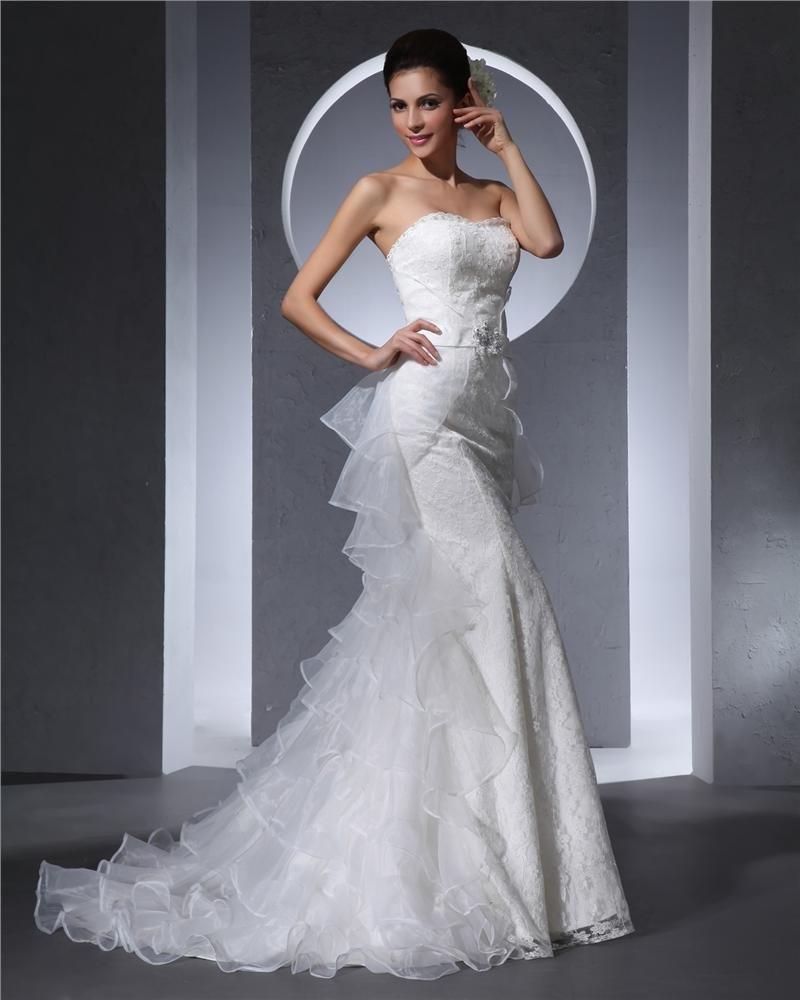 Sweetheart Floor Length Lace Beading Organza Ruffles Women Mermaid Wedding Dress