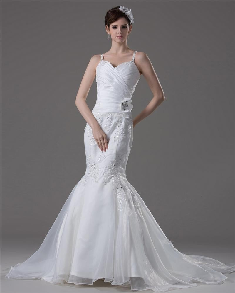 Spaghetti Straps Pleated beading Floor Length Yarn Mermaid Wedding Dress