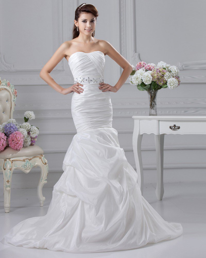 Charmeuse Beaded Ruffle Strapless Court A-line Bridal Gown Wedding Dress