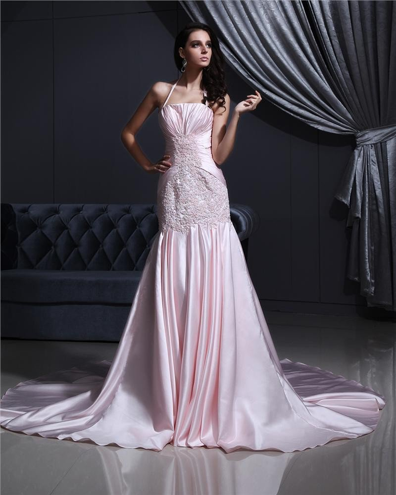 Satin Beading Embroidery Halter Court Mermaid Bridal Gown Wedding Dress