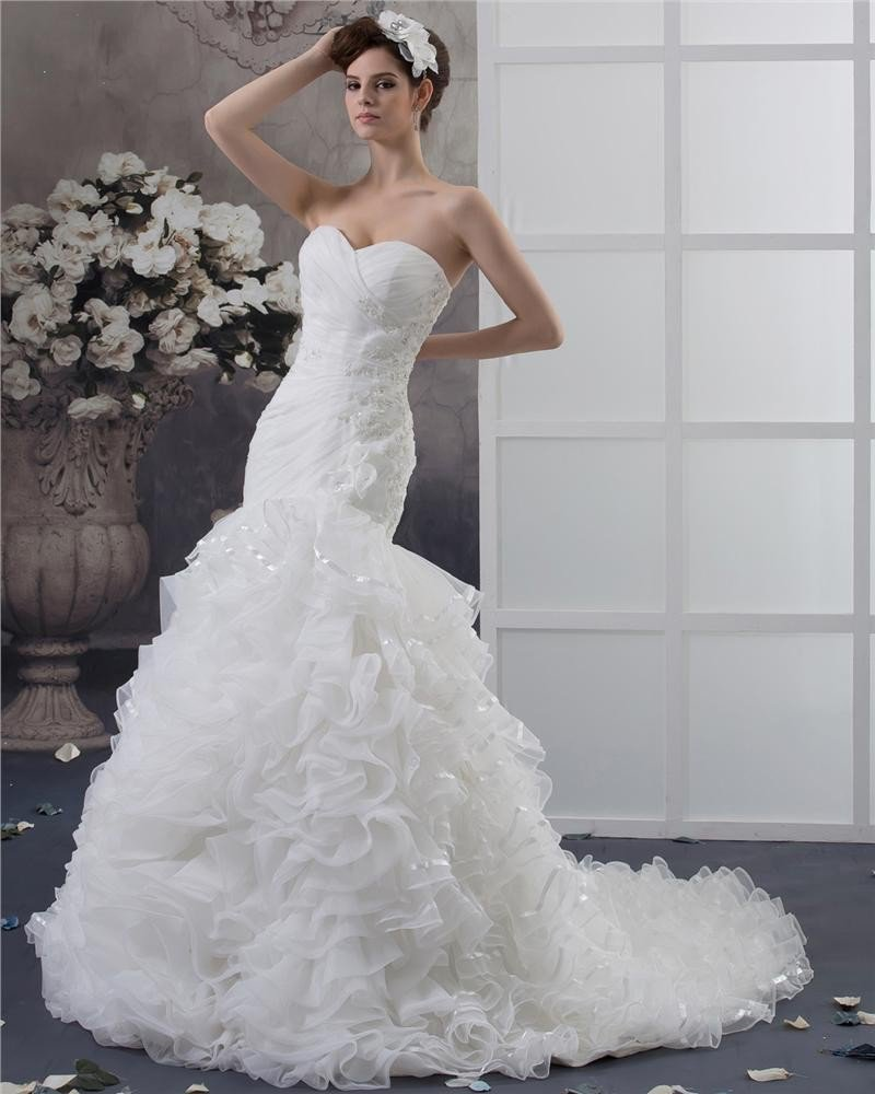 Beading Ruffles Applique Sweetheart Floor Length Yarn Mermaid Wedding Dress