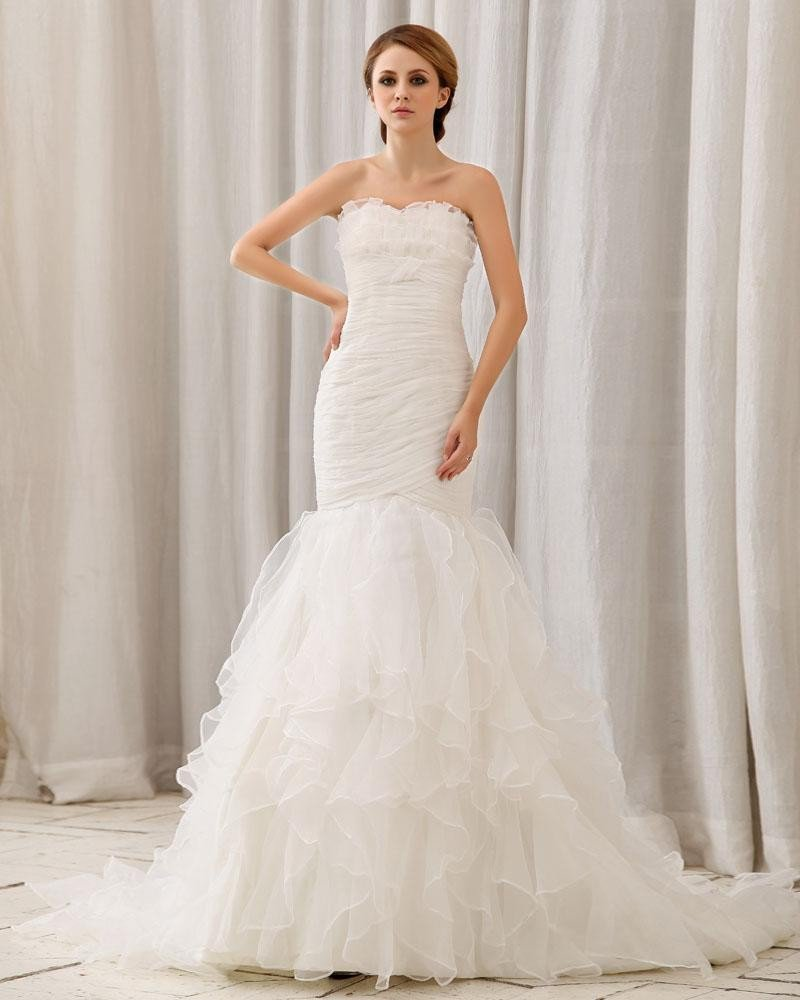 Stylish Ruffle Floor Length Semi-cathedral Strapless Organza Mermaid Wedding Dress