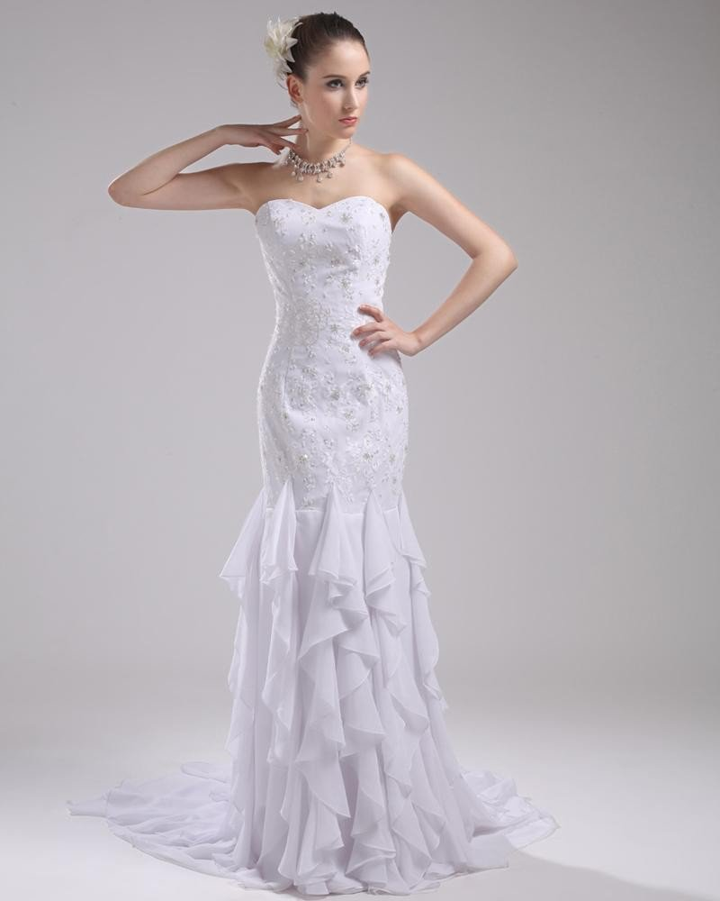 Fashion Chiffon Imitation Silk Ruffle Beading Sweetheart Floor Length Mermaid Wedding Dress