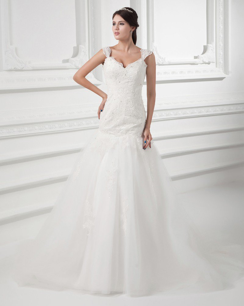 Tulle Applique Beading Shoulder Straps Floor Length Mermaid Wedding Dress