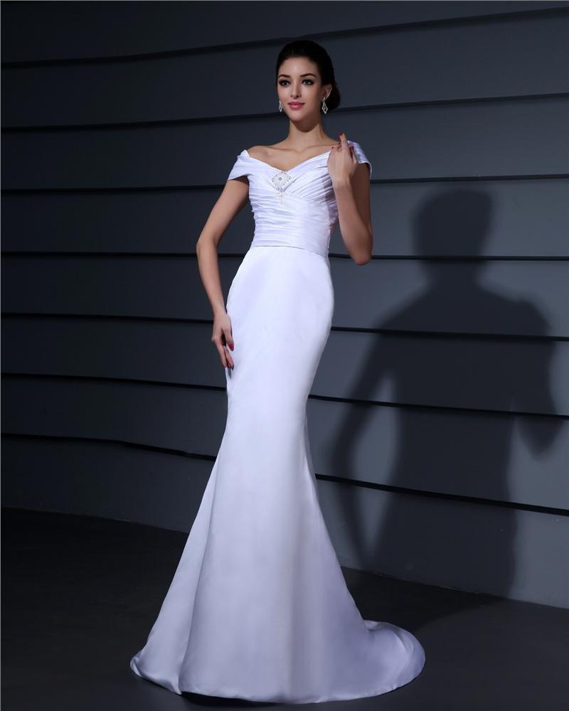 Off Shoulder Pleated Beading Floor Length Lace Woman Mermaid Wedding Dress