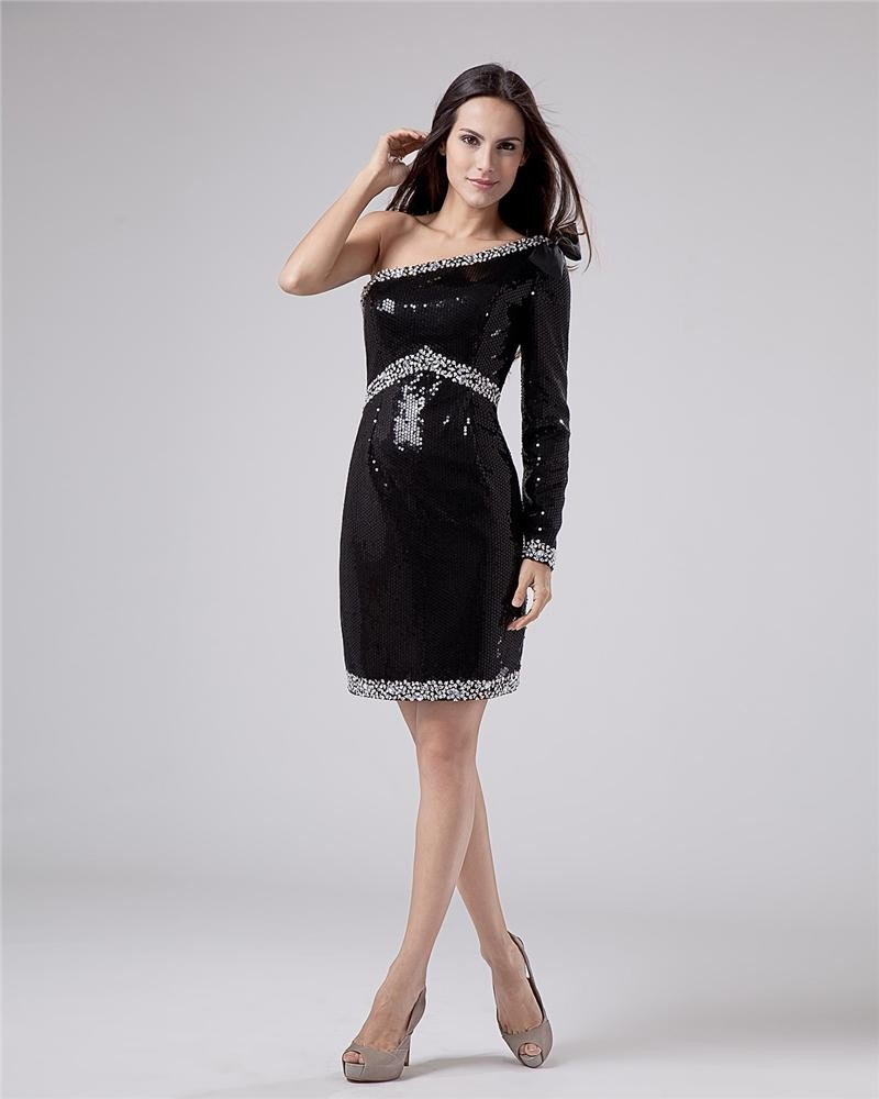 Sleeveless Elastic Beading Ruffles One Shoulder Short Cocktail Dresses