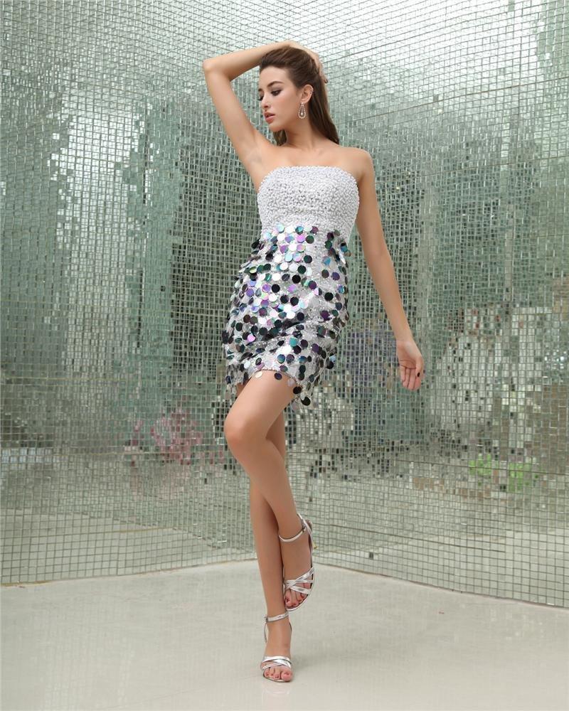 Sequins Strapless Sleeveless Backless Zipper Mini Cocktail Dress