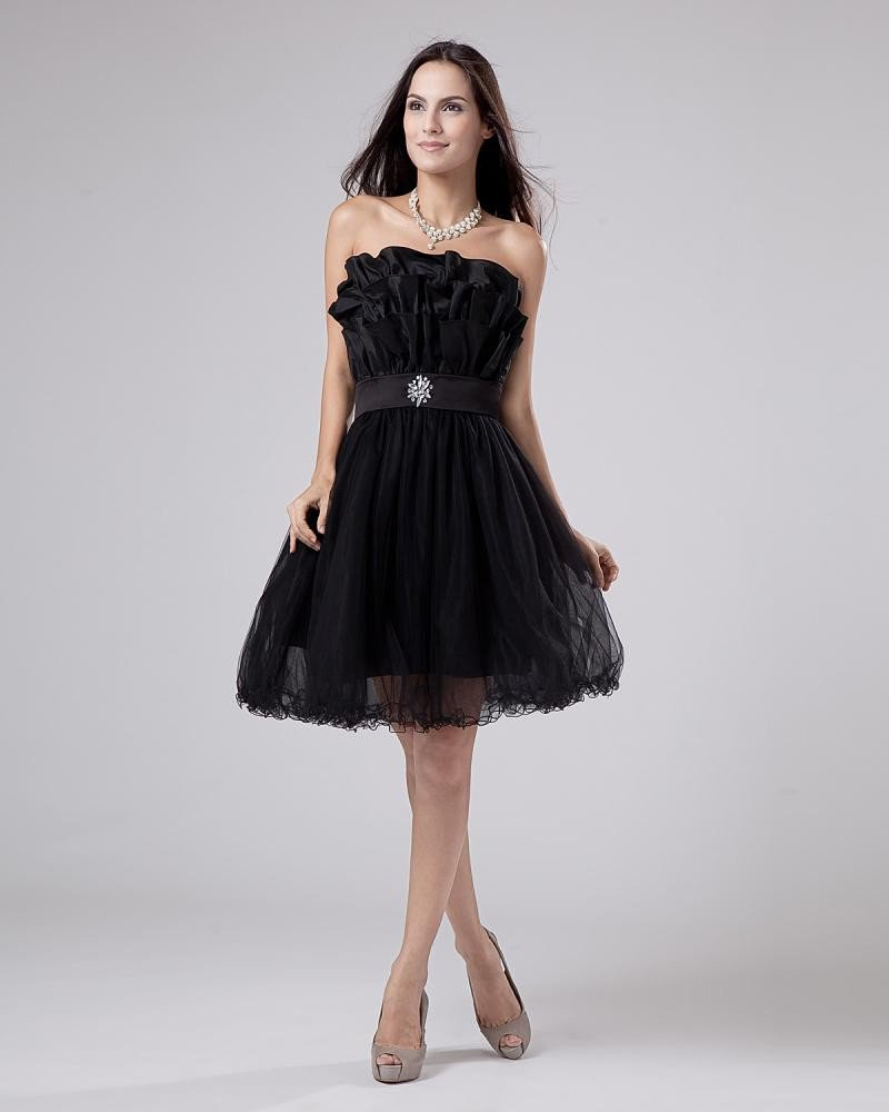 Organza Beading Ruffle Flower Pattern Prom Cocktail Dresses