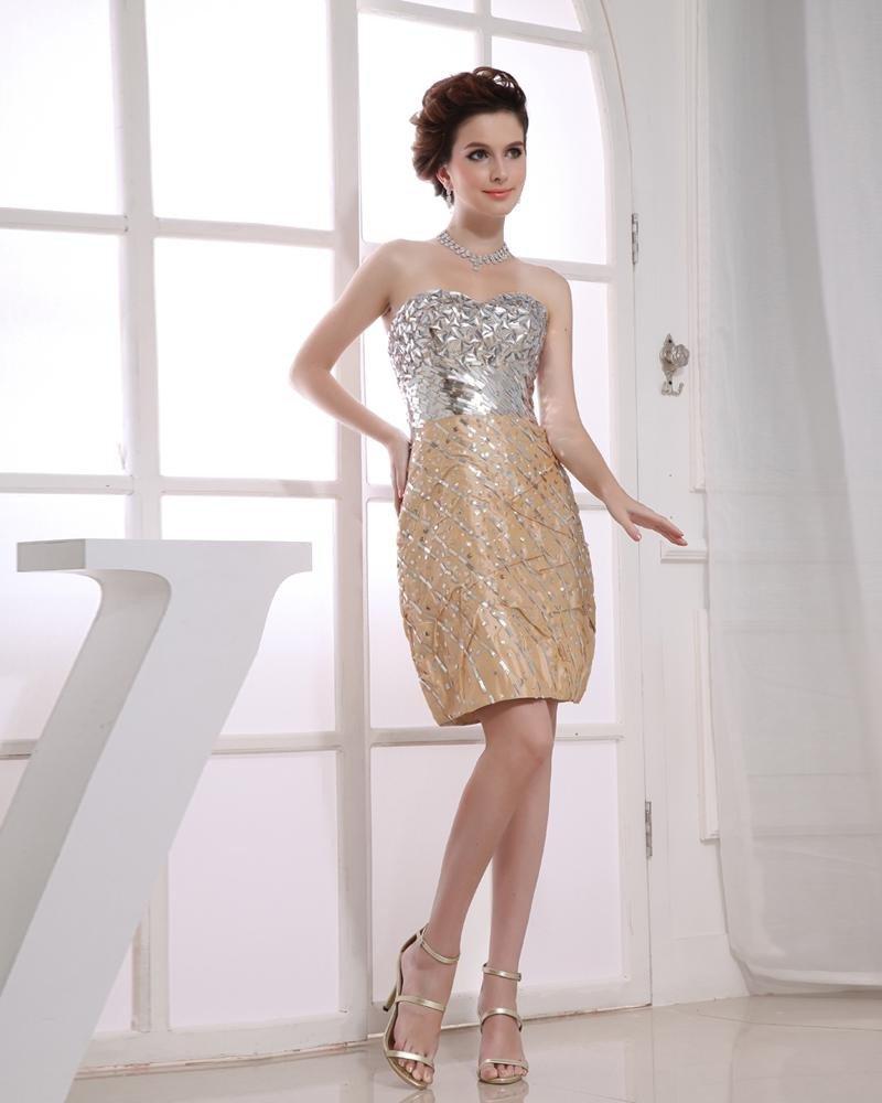 Strapless Neckline Thigh Length Beading Sequined Taffeta Woman Cocktail Dress