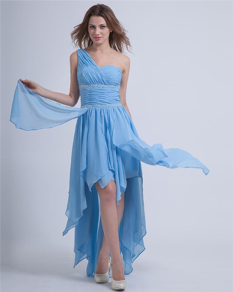 Empire High Low One Shoulder Chiffon Beading Cocktail Dresses