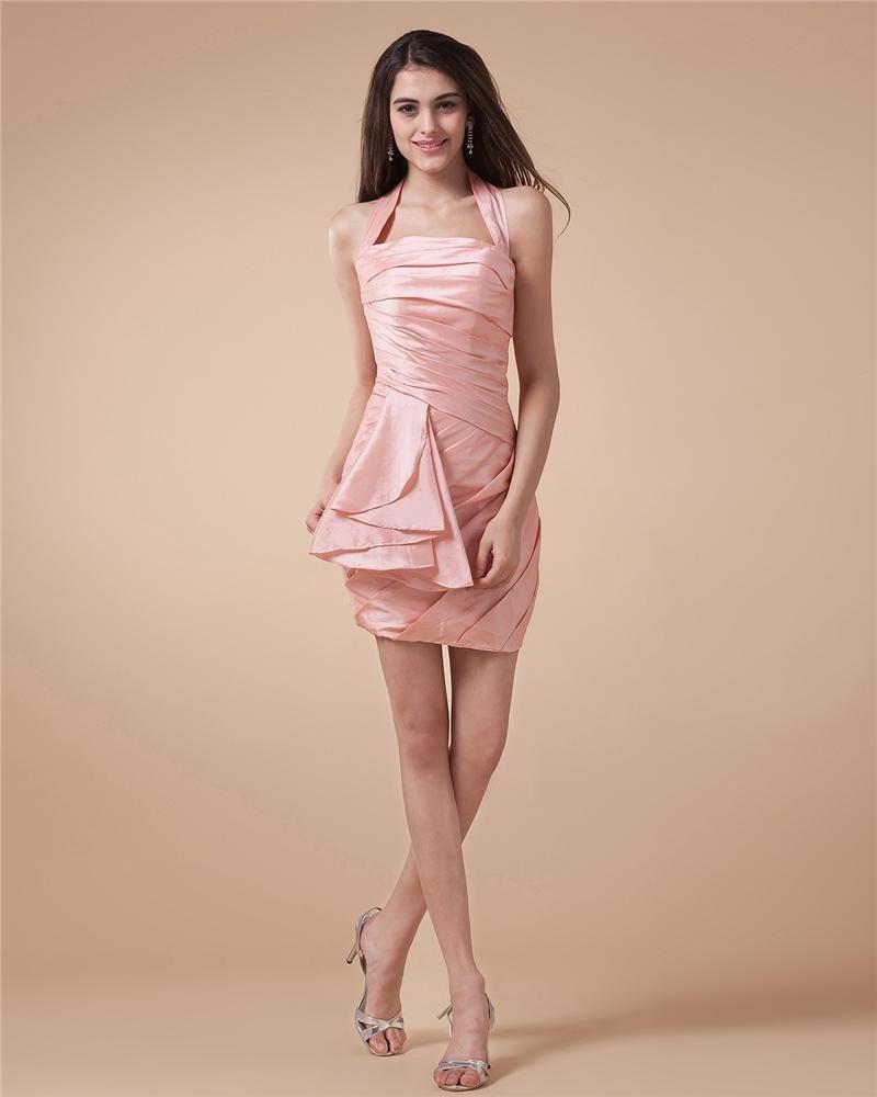 Halter Ruffle Sleeveless Lace Up Mini Length Taffeta Woman Little Black Cocktail Dress