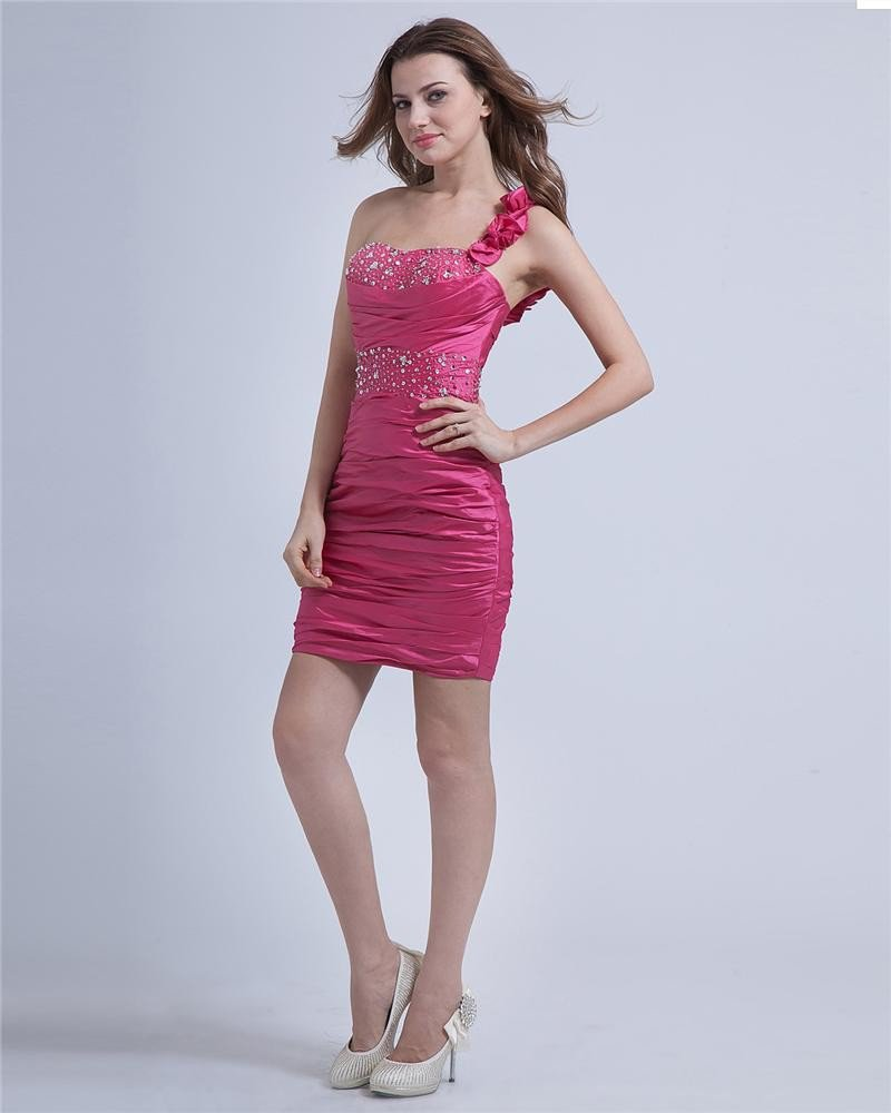 Taffeta One Shoulder Beaded Ruffle Knee-Length Cocktail Dresses