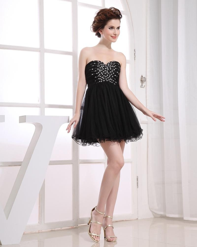 Strapless Neckline Beading Short Gauze A-Line Woman Cocktail Dress