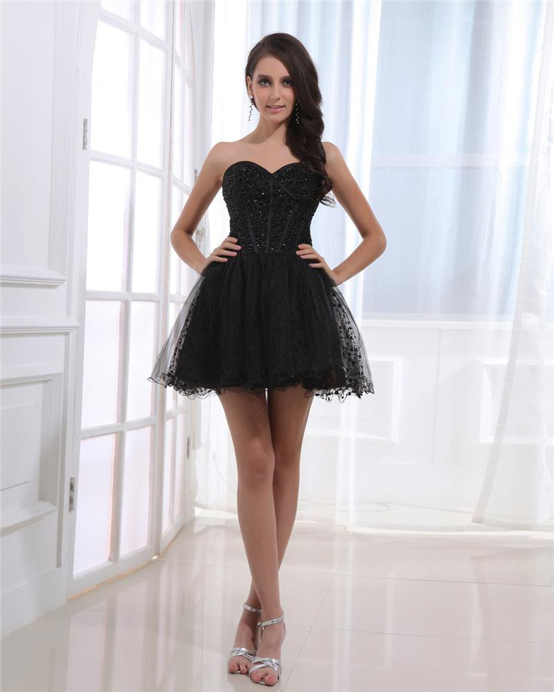 Satin Gauze Beading Sweetheart Backless Zipper Sleeveless Pleated Mini Cocktail Dress