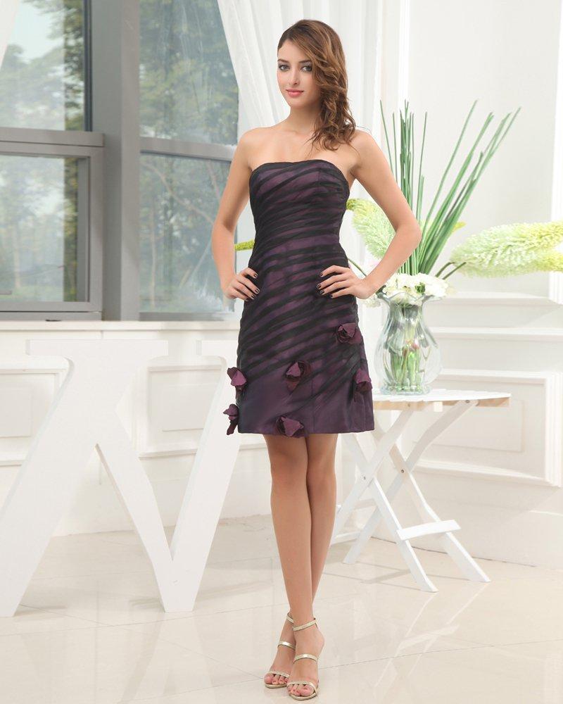 Sleeveless Thigh Length Strapless Neckline Flowers Pleat Silk Woman Little Black Cocktail Dress