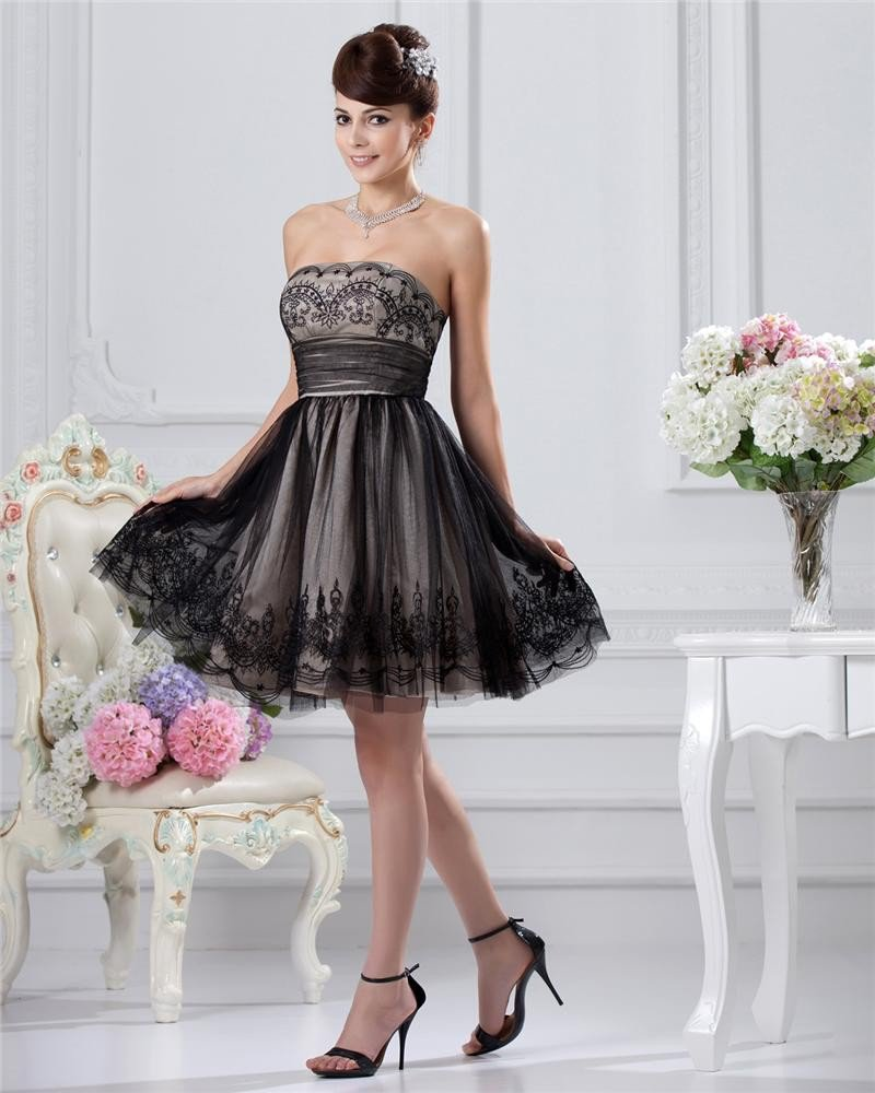 Empire Strapless Sleeveless Knee-length Satin Lace Little Black Cocktail Dress
