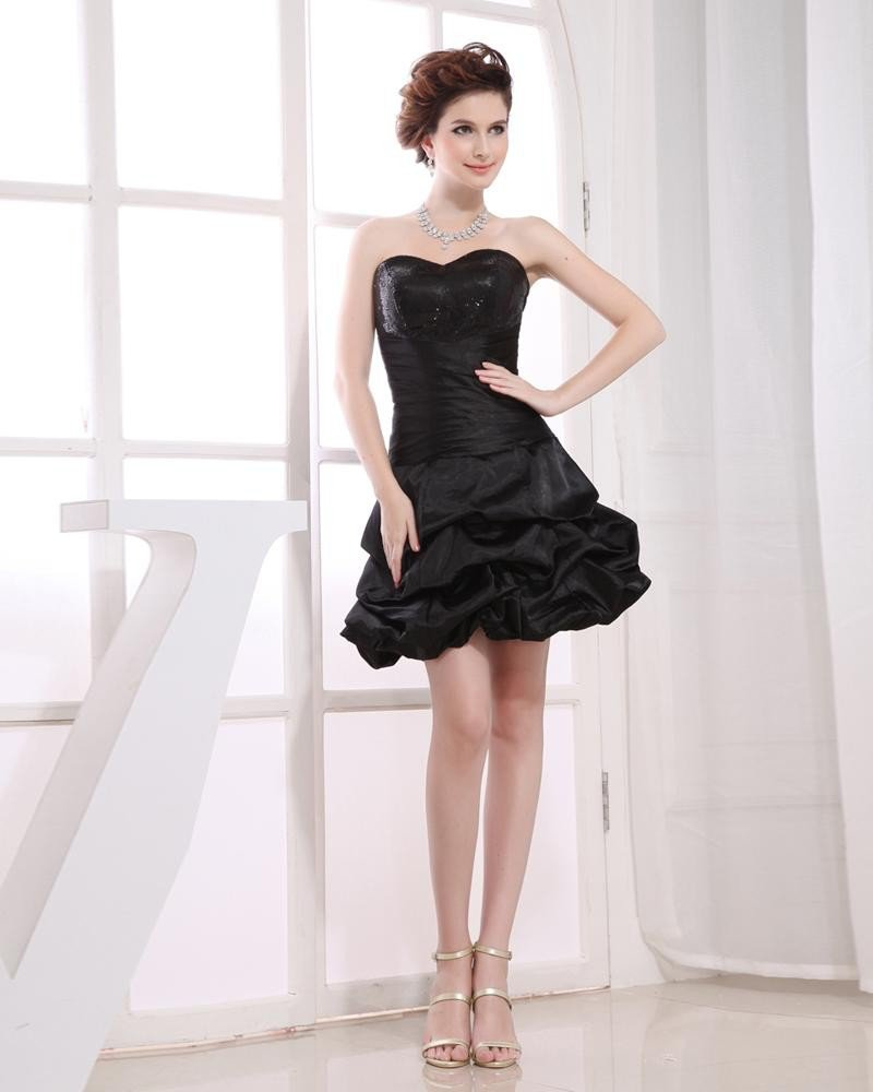 Sweetheart Neckline Thigh Length Sleeveless Beading Pleated Taffeta Woman Little Black Cocktail Dres